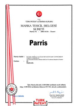 Certificate of Brand Incorparation